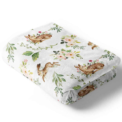Winnie's Woodland Deer and Bunny Baby Blanket