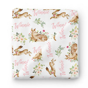 baby deer personalized swaddle