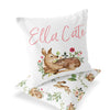 Winnie's Woodland Friends deer and rabbit baby girl custom name accent pillow front and back
