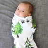 Baby Boy Swaddled Up in our Woodland Trees & Track Oversized Knit Swaddle Blanket