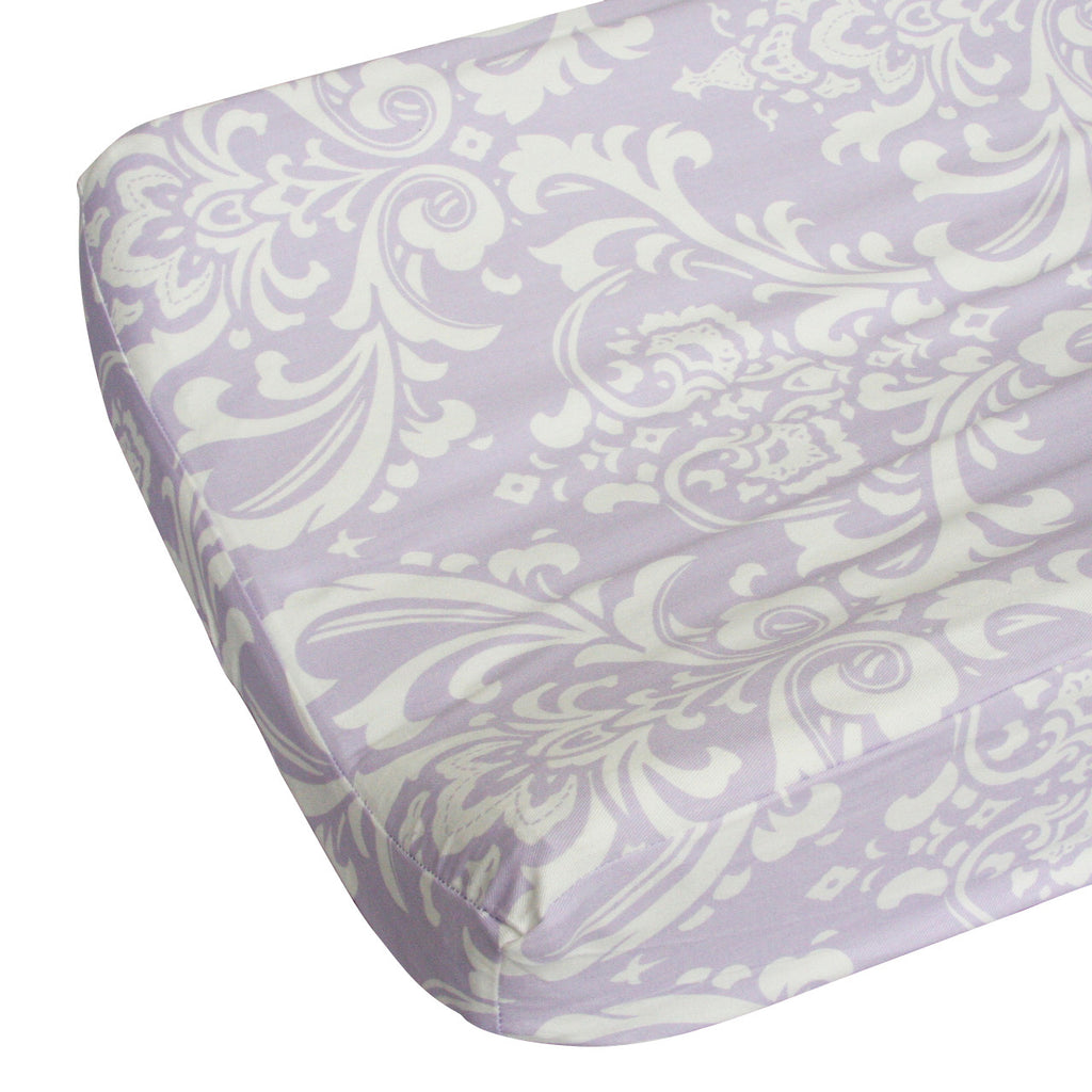 lavender and white sweet lace damask changing pad cover