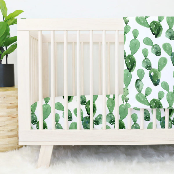 Green and white watercolor cactus print fitted crib sheet
