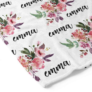 dark floral personalized blanket