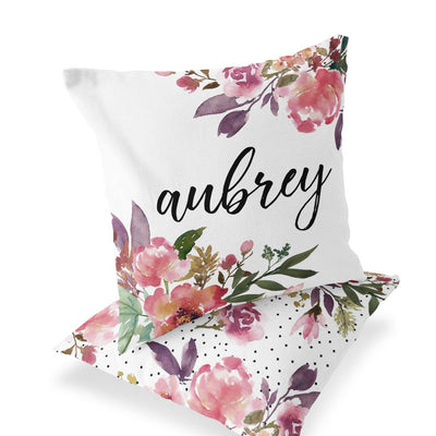 Pink & Burgundy Custom Baby Name Throw Pillow