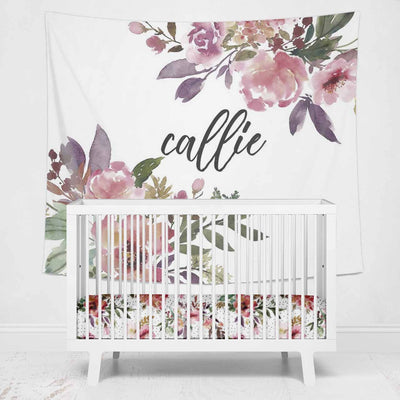 burgundy & blush floral personalized large wall decor for the nursery