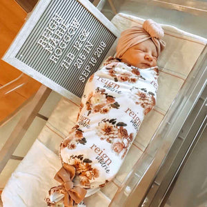 Autumn's Rustic Floral Personalized Baby Name Swaddle Blanket