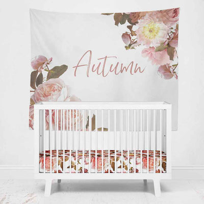 Autumn's Realistic Floral Personalized Wall Tapestry over crib