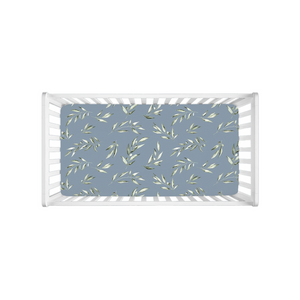 skye's dusty blue leaves soft knit crib sheet