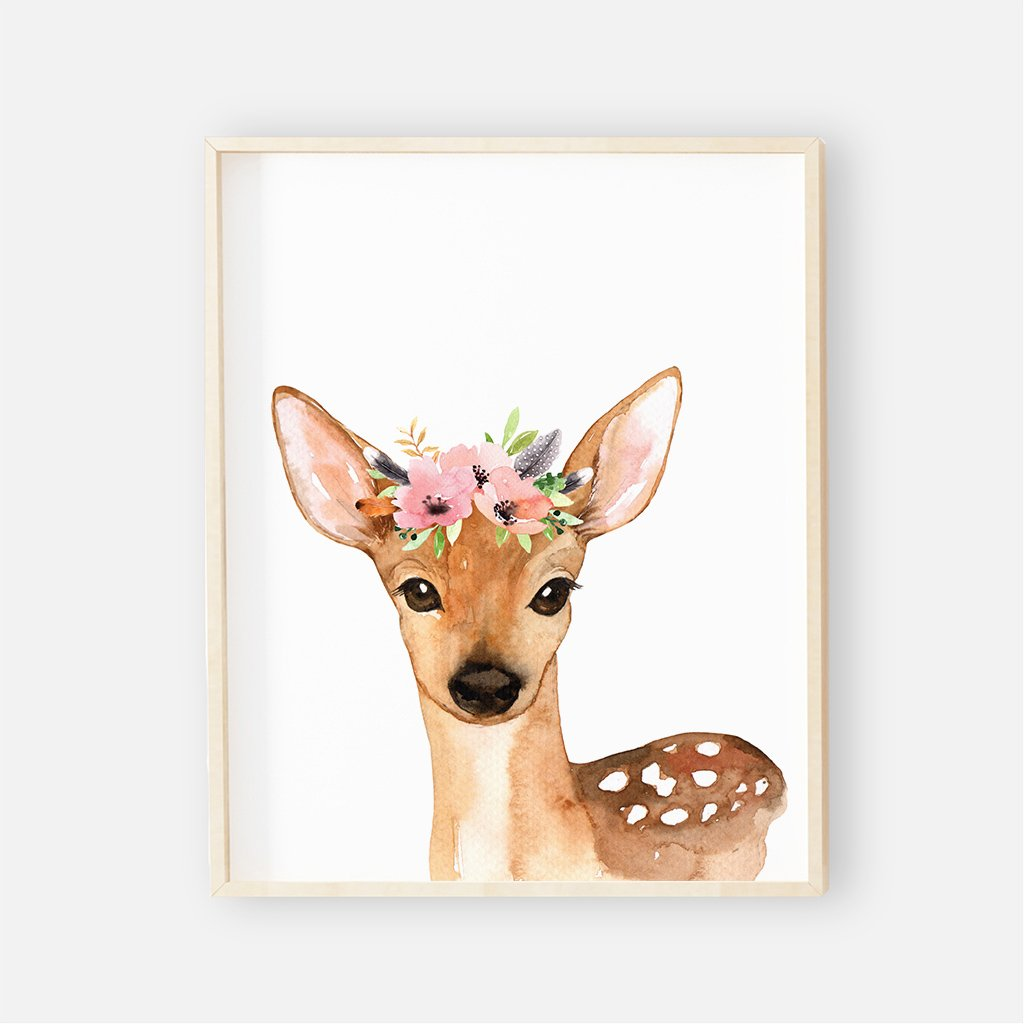 Baby Boho Floral Deer Wall Art ...