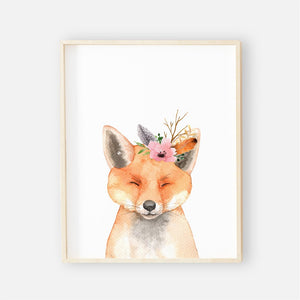 sweet floral fox printable wall art