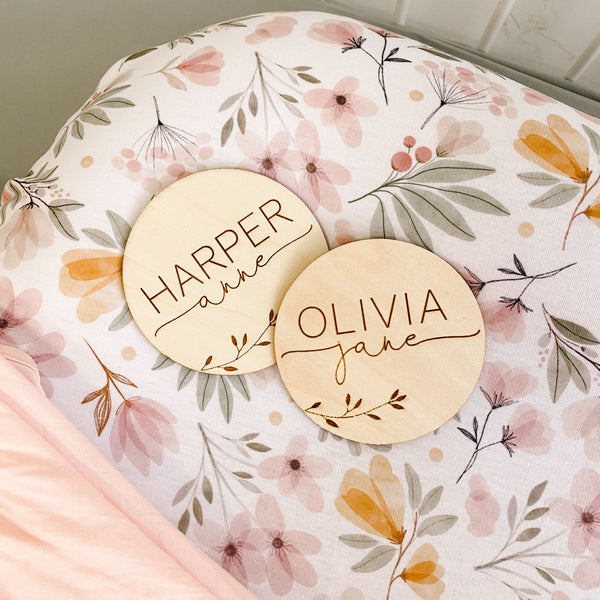Personalized Baby Name Wood Announcement | Leaves