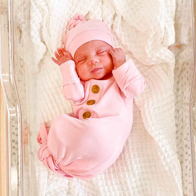 pink newborn outfit with buttons