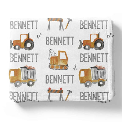 construction tractor personalized blanket for boys