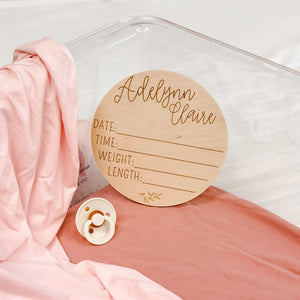 Personalized Birth Stats Wood Announcement for Hospital