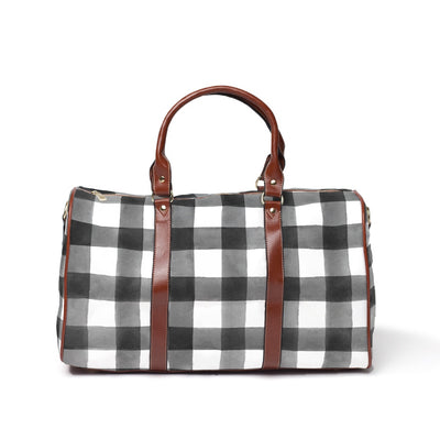 Black and White Gingham Buffalo Check Overnight Travel Bag