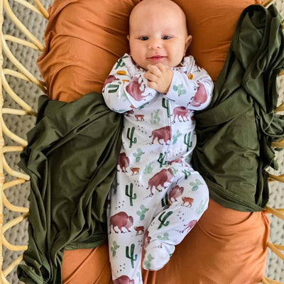 bison print zipper footie sleeper