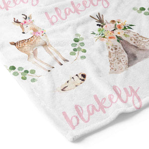 blakely's boho deer and teepee blush toddler blanket