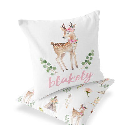 Baby Girl Custom Name Woodland Deer Accent Pillow for the Nursery