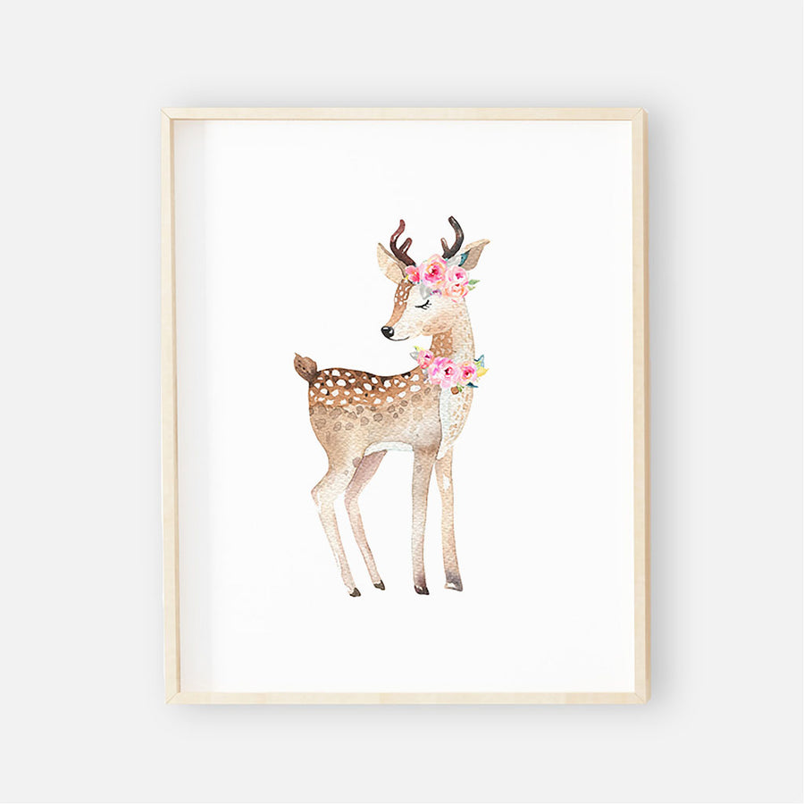 Blakely's Woodland Deer Digital Nursery Wall Art