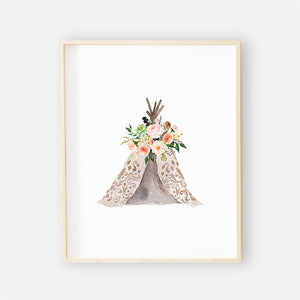 teepee woodland nursery art print