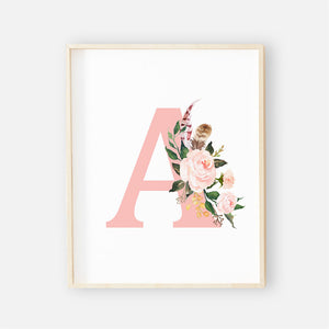 Blush Floral Watercolor Letter Digital Art