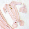 blush knot gown and knot hat for newborn