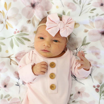 Solid Blush Bamboo Baby Knot Gown & Hat*