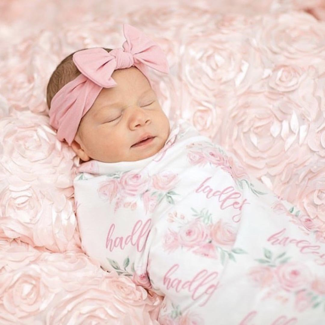 Blush Rose Baby Gift Personalized Girl Pink Floral Blanket in Toddler and Throw Size Super Soft Blush Rose Girl Baby Blanket