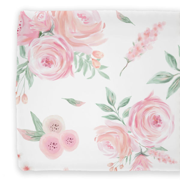 Blush rose greenery changing pad cover