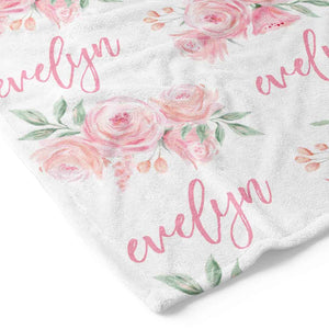 Blush Rose Personalized Toddler Blanket