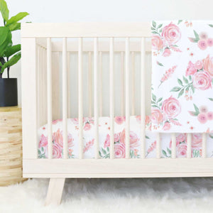 crib sheet blush rose & peach floral