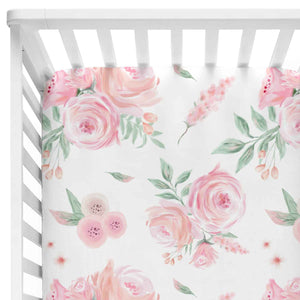 peach and blush rose watercolor crib bedding