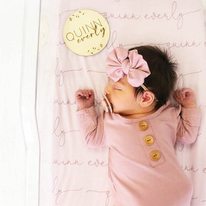 Personalized Blush & Mauve Baby Name Swaddle Blanket - Script