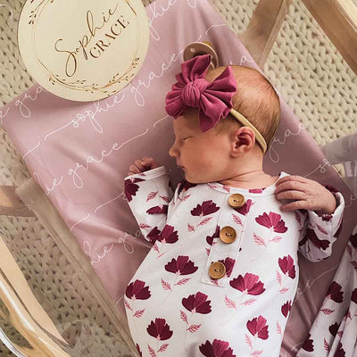 burgundy and pink modern floral newborn outfit