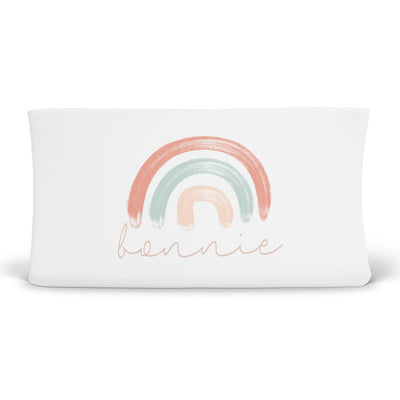 Bonnie's Bright Pastel Rainbows Personalized Changing Pad Cover