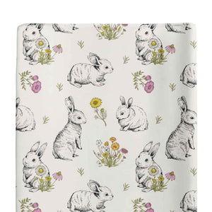 bree's bunny garden super stretchy changing pad cover