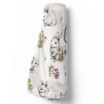 bree's bunny garden blanket with rabbits