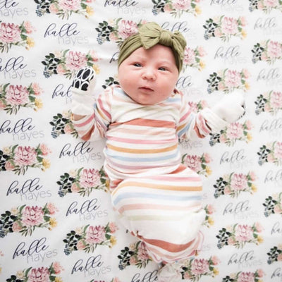 botanical floral personalized swaddle