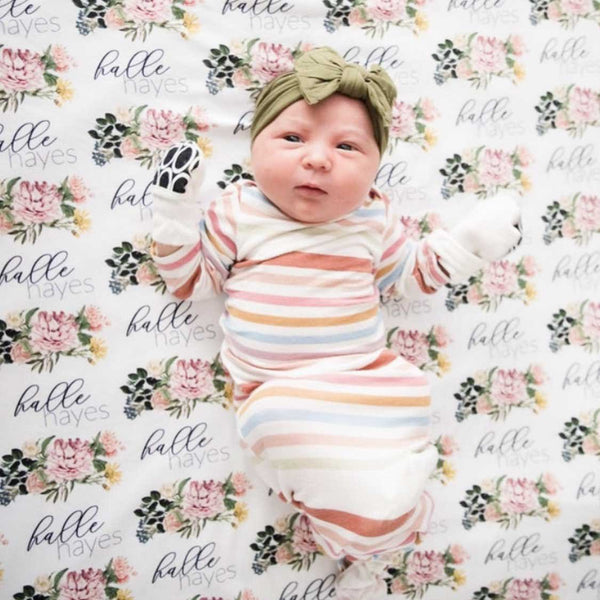 Brinley Botanical Personalized Baby Name Swaddle Blanket