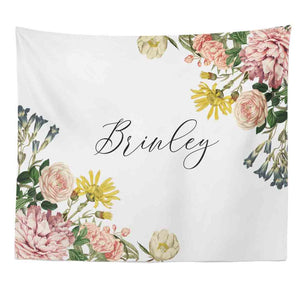Brinley's Botanical Floral Personalized Wall Tapestry over crib