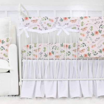 Britt's Blush Boho Garden White Gathered Crib Bedding Set