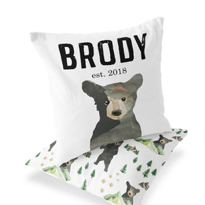 Brody's Bear & Mountain Adventure Custom Name Bear Accent Pillow - Front & Back