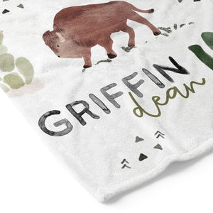 personalized bison and cactus kids name blanket