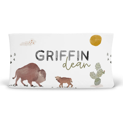 personalized bison changing pad cover