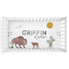 personalized bison and cactus crib sheet