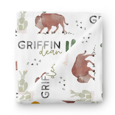 personalized swaddle with bison and cactus