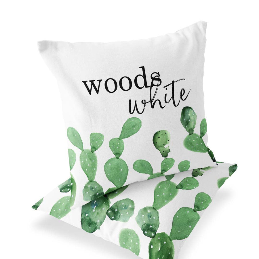 green and white watercolor cactus custom name throw pillow