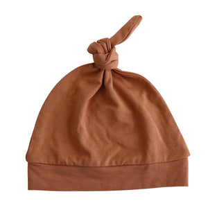 camel rust knotted newborn hat