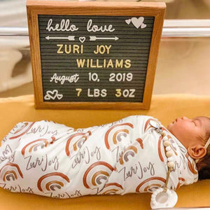 Cannon's Earthy Rainbow Personalized Swaddle Blanket