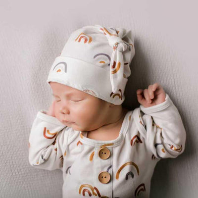 Cannon's Earthy Rainbow Newborn Baby Knot Gown & Hat